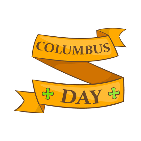 Columbus Day ribbon icon in cartoon style on a white background