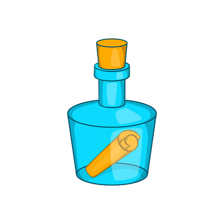 castaway: Bottle with letter icon in cartoon style on a white background