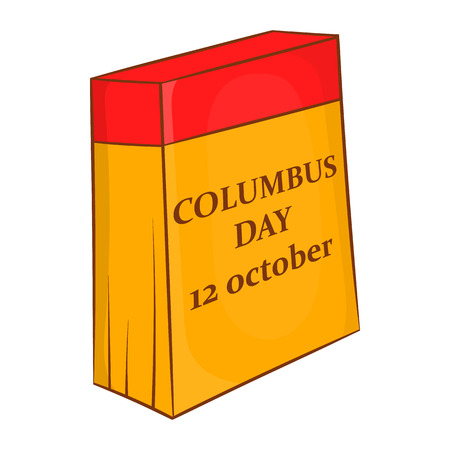 conquest: Columbus Day calendar, 12 october icon in cartoon style on a white background
