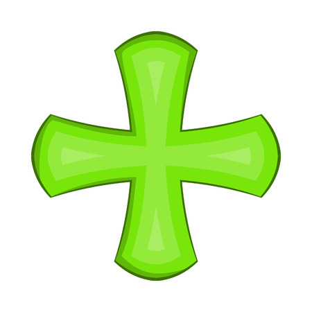 Green cross icon in cartoon style on a white background Illustration
