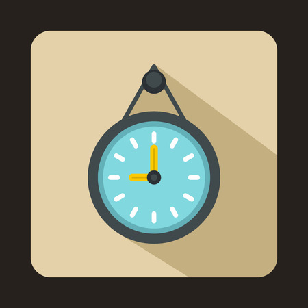 pm: Wall office clock icon in flat style isolated with long shadow