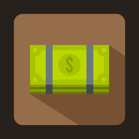 us paper currency: Dollar banknotes bills icon in flat style isolated with long shadow