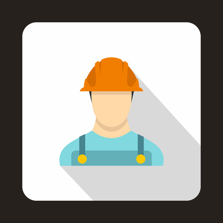 Construction worker icon in flat style isolated with long shadow Illustration