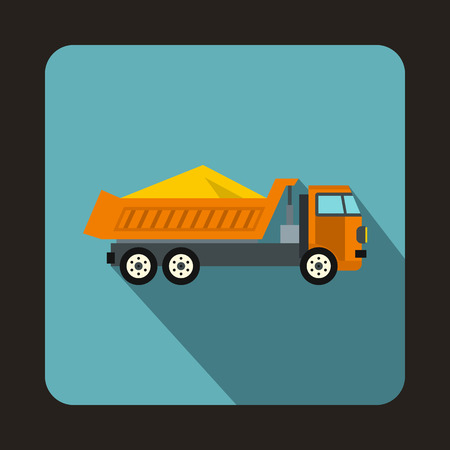 Dump truck icon in flat style isolated with long shadow