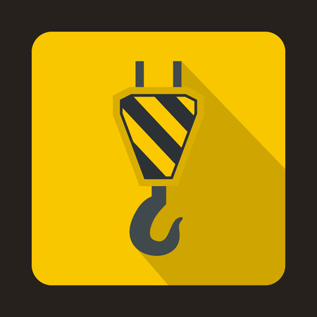 Lifting crane hook icon in flat style isolated with long shadow Illustration