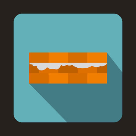 bricklaying: Construction bricklayer, building walls with bricks icon in flat style isolated with long shadow