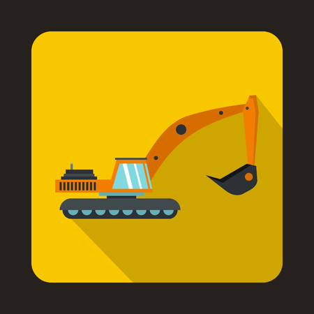 Excavator icon in flat style isolated with long shadow