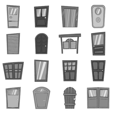 western style room: Door icons set in black monochrome style. Front doors to houses and buildings set collection vector illustration