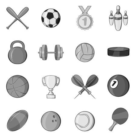 raquet: Sport equipment icons set in black monochrome style. Sport games symbols set collection vector illustration Illustration