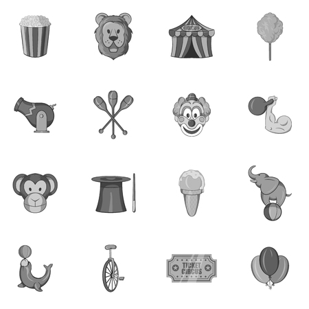 juggle: Circus icons set in black monochrome style. Circus entertainments set collection vector illustration