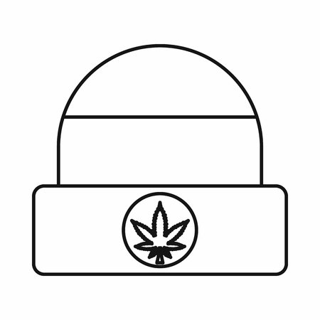 rastafari: Rastafarian cap with marijuana leaf icon in outline style isolated on white background. Vector illustration
