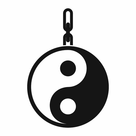 yang style: Sign yin yang icon in simple style isolated on white background. Religion symbol