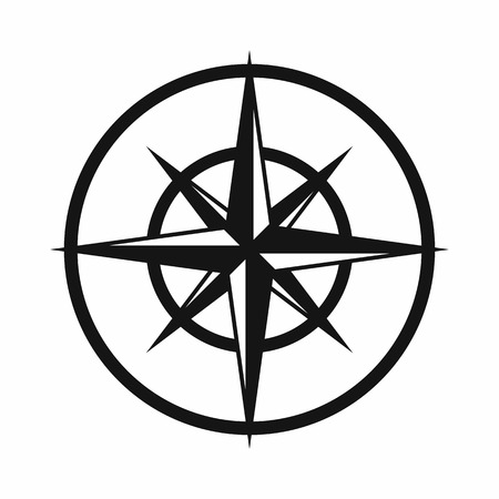 Sign of compass to determine cardinal directions icon in simple style isolated on white background. Navigation symbol