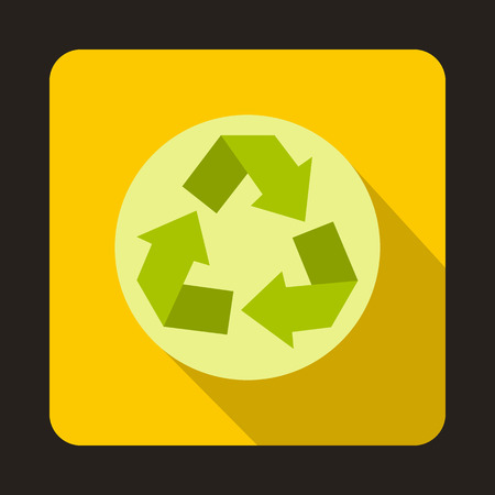 Recycle symbol icon in flat style on a yellow background vector illustration