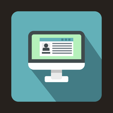 operative: Profile information on a computer monitor icon in flat style on a baby blue background vector illustration Illustration