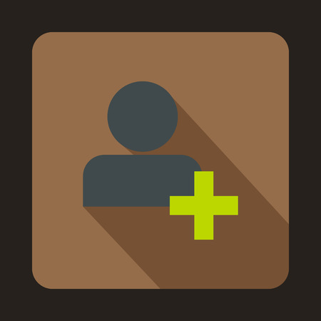 new account: Add friend contact icon in flat style on a coffee background vector illustration