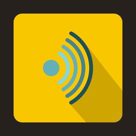 Wireless network symbol icon in flat style on a yellow background vector illustration