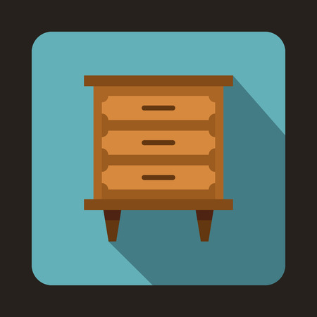headboard: Wooden nightstand icon in flat style on a baby blue background vector illustration