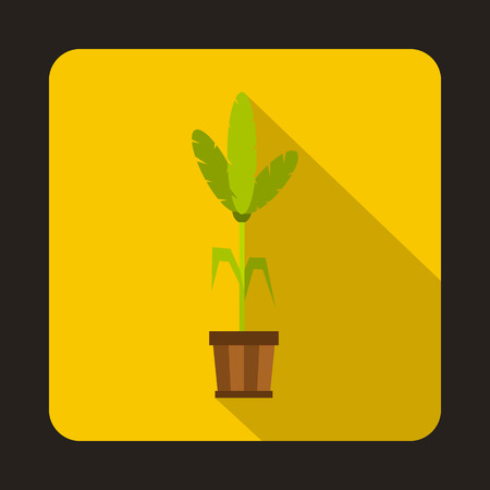House plant in pot icon in flat style on a yellow background vector illustration Illustration