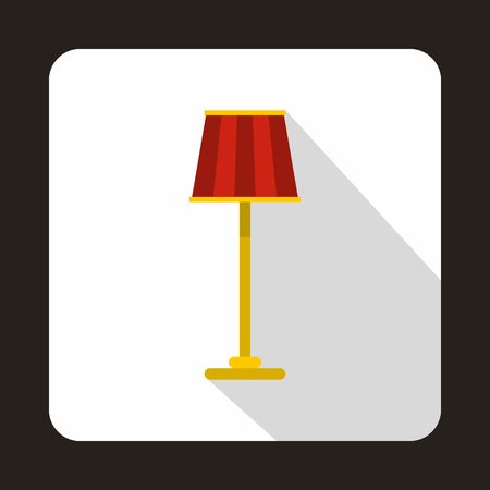 lamp shade: Floor lamp icon in flat style on a white background vector illustration