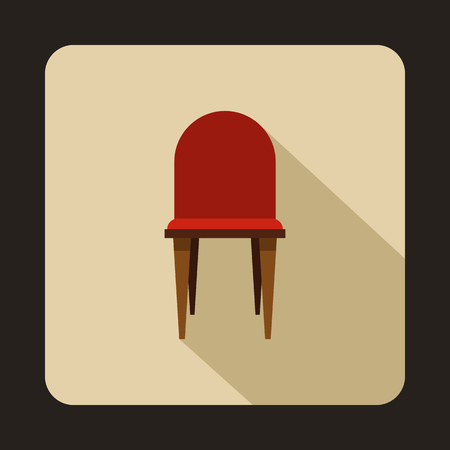 wooden chair: Red wooden chair icon in flat style on a beige background vector illustration