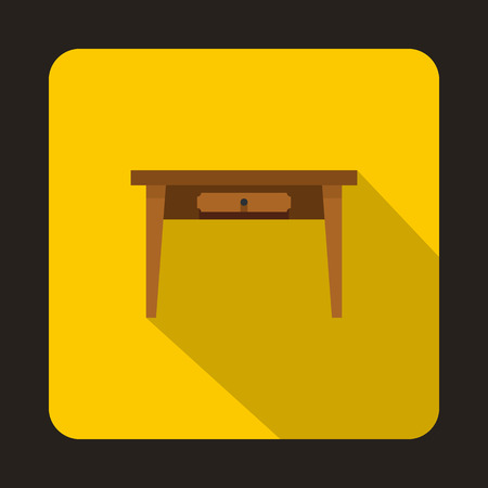 side table: Wooden table icon in flat style on a yellow background vector illustration