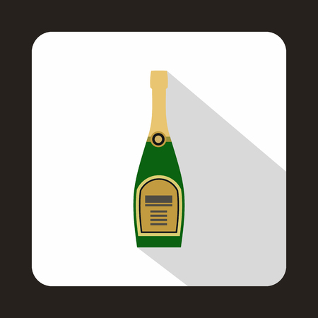 uncorked: Champagne bottle icon in flat style on a white background vector illustration