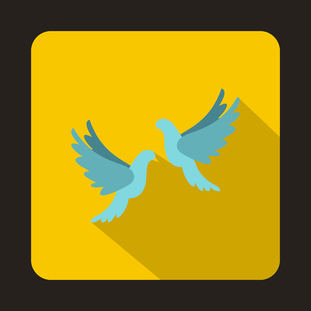 Two white pigeons icon in flat style on a yellow background vector illustration