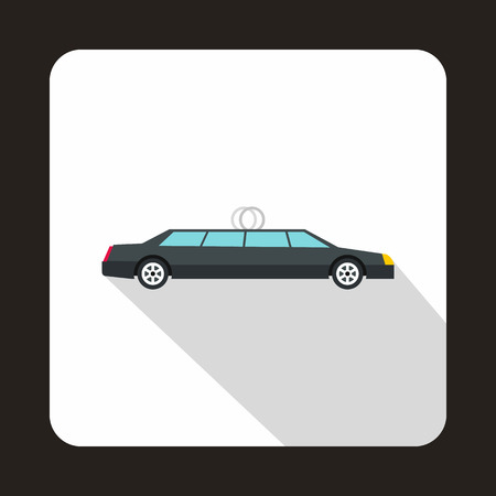 limousine: Luxury black limousine icon in flat style on a white background vector illustration