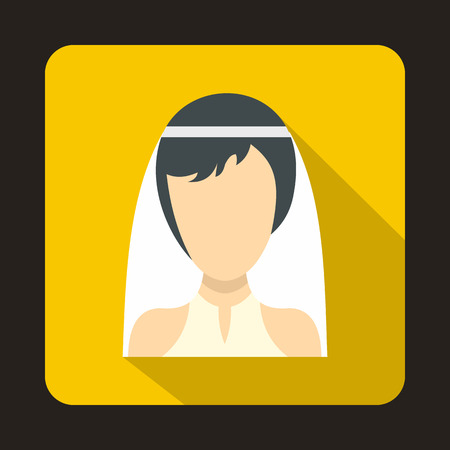 Bride icon in flat style on a yellow background vector illustration