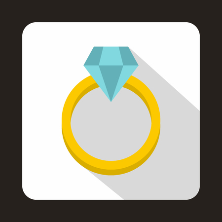 fiance: Ring with diamond icon in flat style on a white background vector illustration
