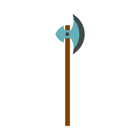 chivalrous: Medieval battle ax icon in flat style on a white background vector illustration Illustration