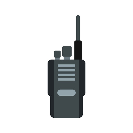 Portable radio transceiver icon in flat style on a white background vector illustration Illustration