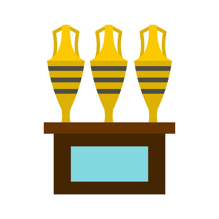 earthenware: Three egyptian vases icon in flat style on a white background vector illustration