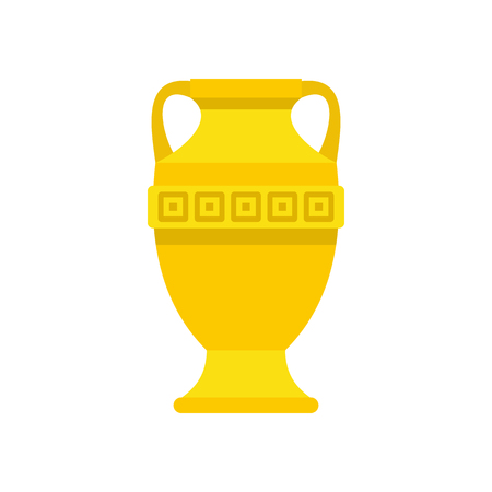 decorative urn: Ancient gold vase icon in flat style on a white background vector illustration