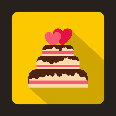 wedding reception decoration: Wedding cake with two pink hearts icon in flat style on a yellow background vector illustration