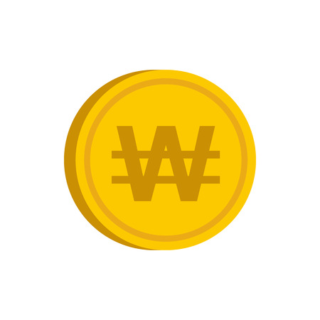 Gold coin with won sign icon in flat style on a white background vector illustration