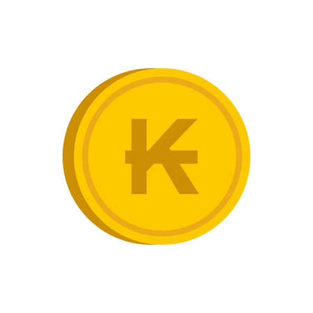 kip: Gold coin with lao kip sign icon in flat style on a white background vector illustration