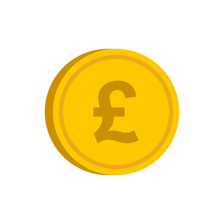 pound coin: Gold coin with pound sign icon in flat style on a white background vector illustration