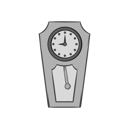 big timer: Large wall clock icon in black monochrome style isolated on white background. Time symbol. Vector illustration