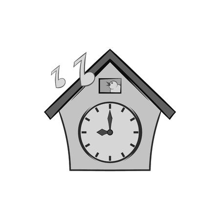 reloj cucu: icono del reloj de cuco en el estilo monocromático negro sobre fondo blanco. símbolo de tiempo. ilustración vectorial