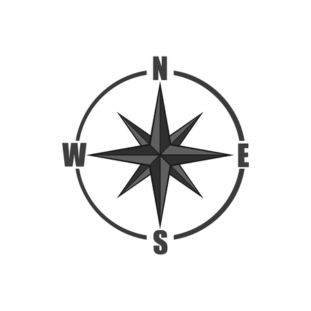 latitude: Sign of compass icon in black monochrome style isolated on white background. Navigation symbol. Vector illustration Illustration