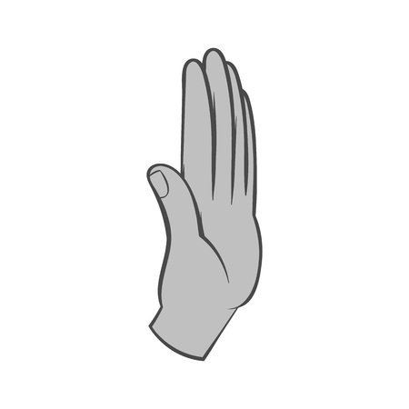 gestural: Palm up icon in black monochrome style isolated on white background. Gestural symbol. Vector illustration
