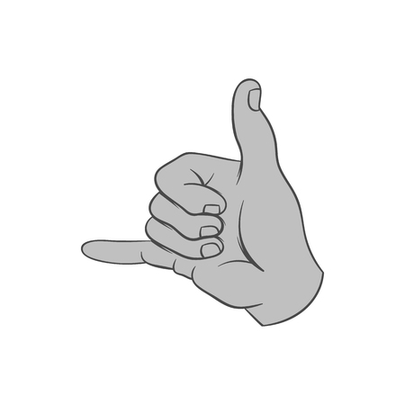 gestural: Gesture surfing icon in black monochrome style isolated on white background. Gestural symbol. Vector illustration Illustration
