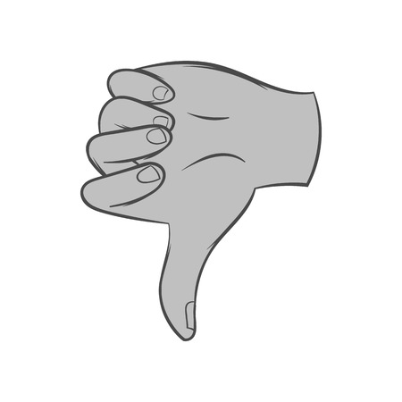 gestural: Gesture thumbs down icon in black monochrome style isolated on white background. Gestural symbol. Vector illustration