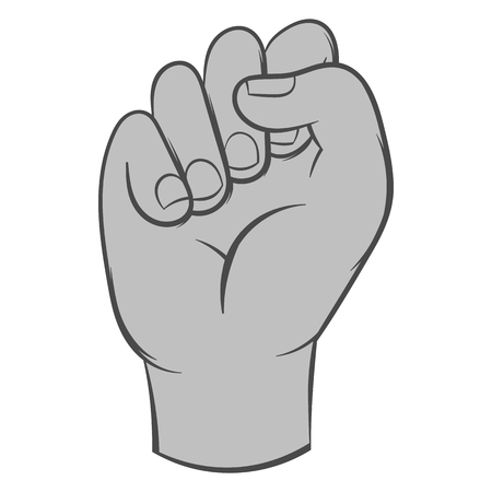 gestural: Clenched fist icon in black monochrome style isolated on white background. Gestural symbol. Vector illustration Illustration