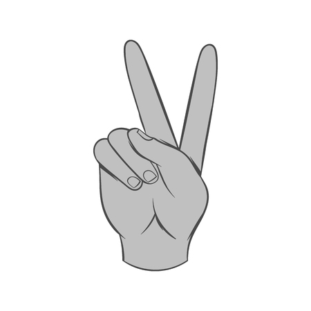 gestural: Gesture victoria icon in black monochrome style isolated on white background. Gestural symbol. Vector illustration