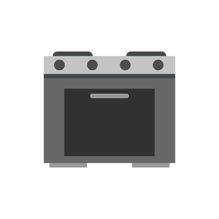 gas appliances: Gas stove icon in flat style isolated on white background. Home appliances symbol vector illustration Illustration