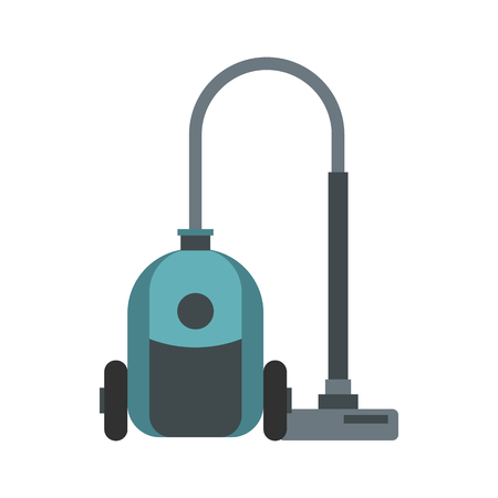 vac: Vacuum cleaner icon in flat style isolated on white background. Home appliances symbol vector illustration