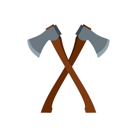 2 axe icon in flat style isolated on white background. Equipment symbol vector illustration